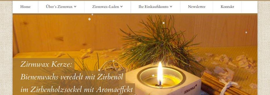 Neuer Online Shop für Zirmwax.at
