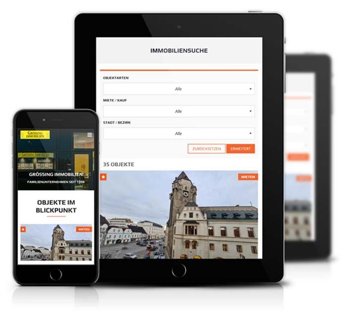 Immobilien Website iPad
